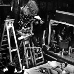 black &amp; white on-set picture of stanley kubrick shooting a scene