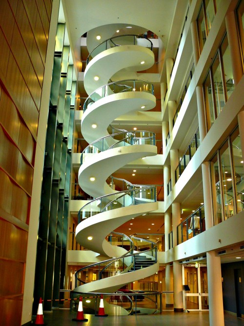 spiral -- or technically helical -- white staircase