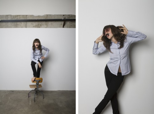 diptych of pictures of a woman wearing a fake mustache