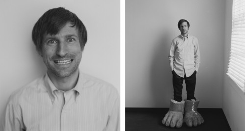 black and white diptych portrait of a man wearing giant feet