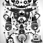 black and white symmetrical poster of robots