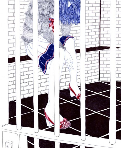 ballpoint pen illustration of a woman behind bars