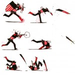 illustration of captain america performing a tactical move involving throwing his shield and a gun. like a boss.