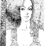 black &amp; white ink drawing of a woman with curly hair