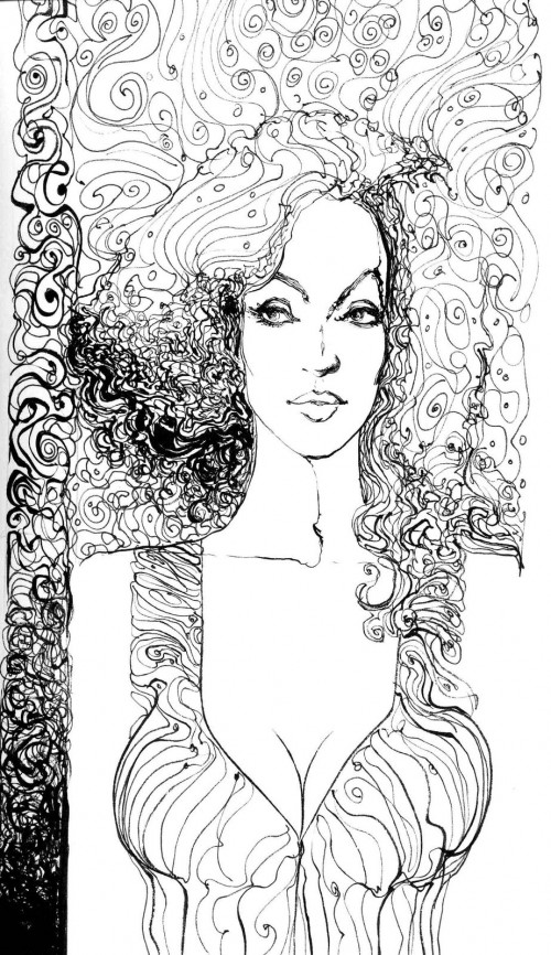 black & white ink drawing of a woman with curly hair