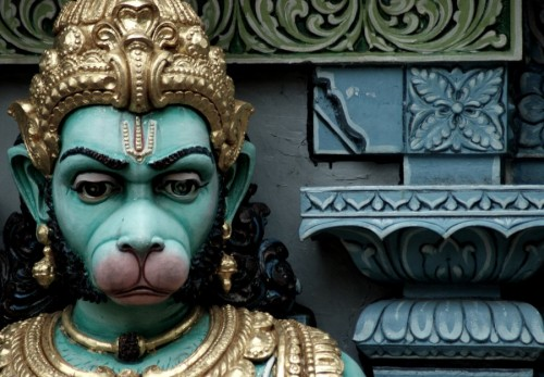 Close up photo of a statue of Hanuman the monkey God