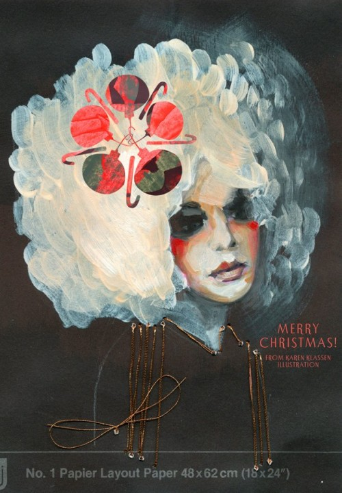 painted christmas card of woman with white wig