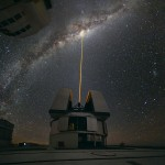 Very Large Telescope shooting a laser at the Milky Way