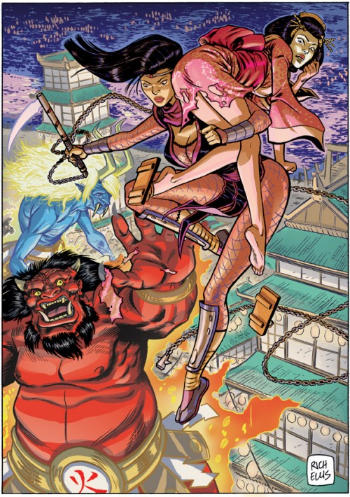 warrior woman saving a girl from monsters