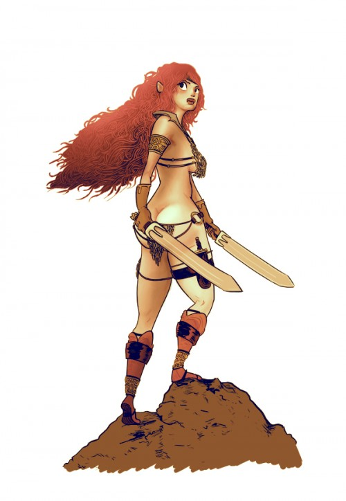 illustration of red sonja holding two swords