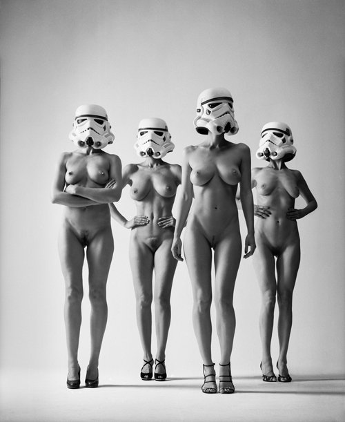 nude women wearing star wars stormtrooper helmets