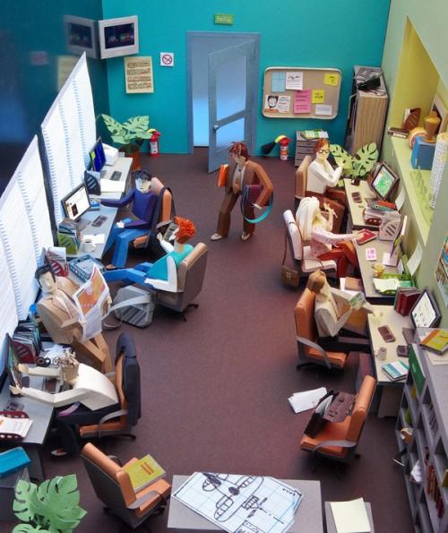 Papercraft office tableu