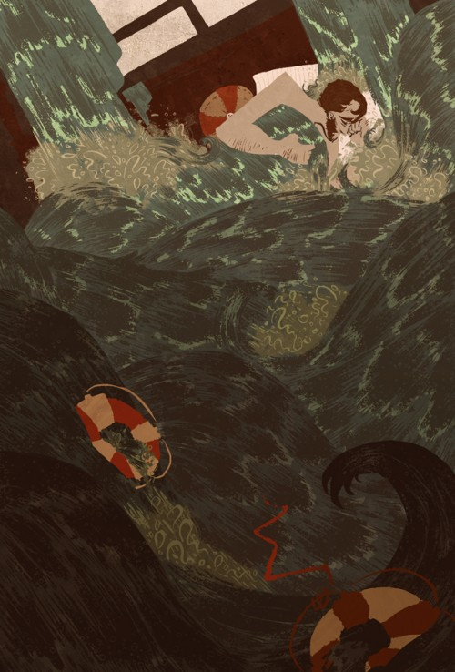 illustration of man sleeping in a churning sea
