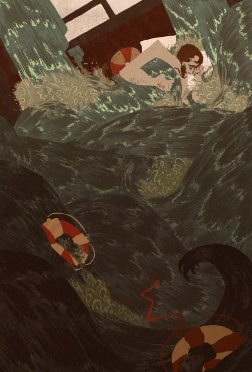 illustration of man sleeping in a churning sea