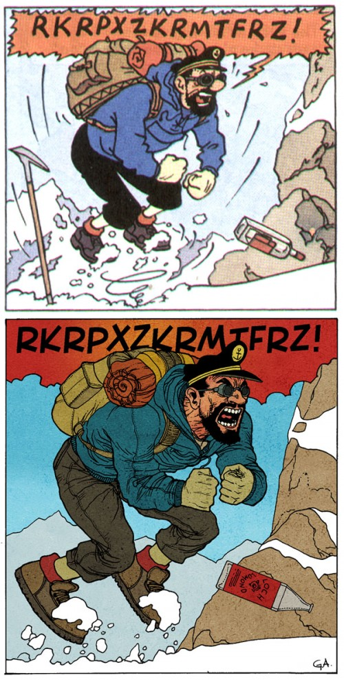 redraw of a panel of Captain Haddock from tintin