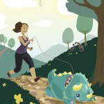 Vector illustration of a pony-tailed woman in a tank-top running down a park path behind her leashed baby triceratops.