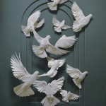 papercraft flock of doves
