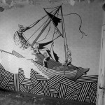 graffitti of a ship on the sea