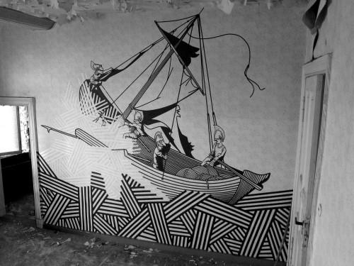 graffiti of a ship on the sea