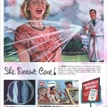 vintage ad featuring man in labcoat showering woman with water hose