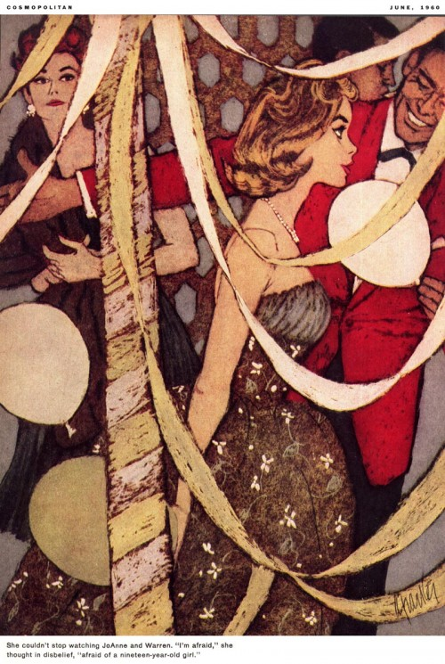 woman at a party illustrated by Al Parker