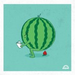 watermelon pooping a strawberry