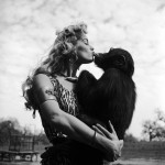 irish mccalla as sheena kissing a chimpanzee