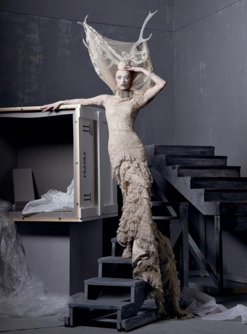 model wearing alexander mcqueen dress