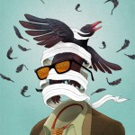 surreal illustration of bodliess man with bird flying out of head