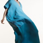 woman in billowing blue dress