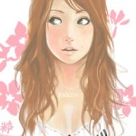 Painted manga portrait of red-headed girl with long wavy hair and a flower pattern behind her.