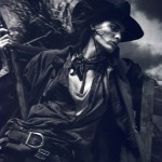 isabeli fontana as cowboy with rifle