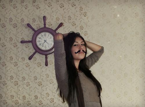 Stella Salas wearing a mustache