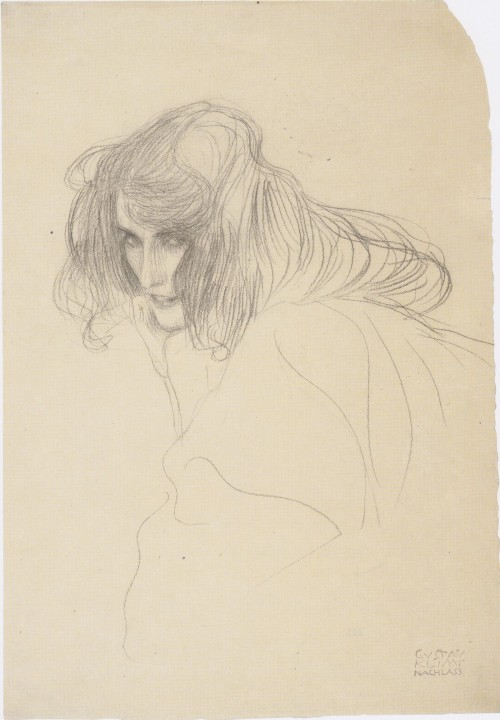 Pencil sketch by Klimpt of a woman's three-quarter profile