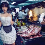 model and chef in kitchen