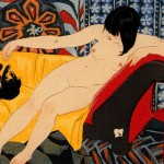 Japanese print of nude playing with cat