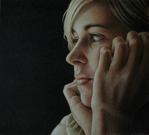 Isabel IV - wax pastel on panel