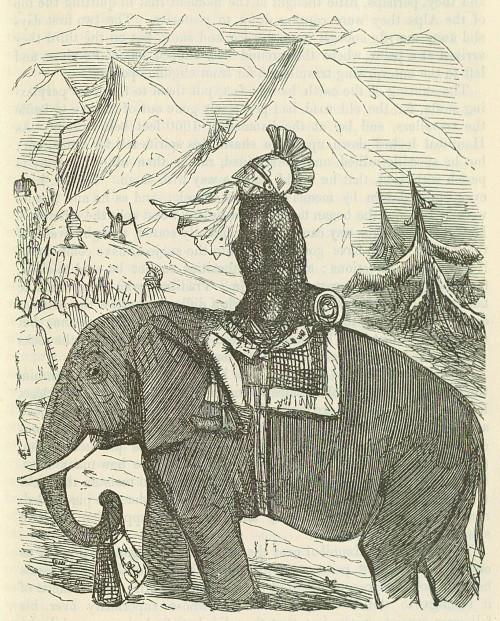 Hannibal crossing the alps on an elephant - Comic History of Rome