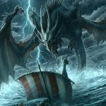 dragon attacking ship during storm