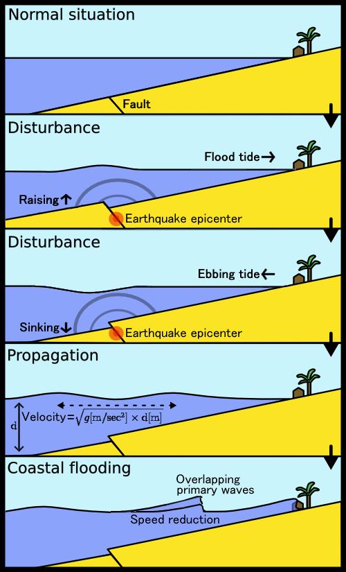 Tsunami comic book style infographic