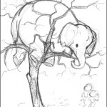 Elephant in tree sketch