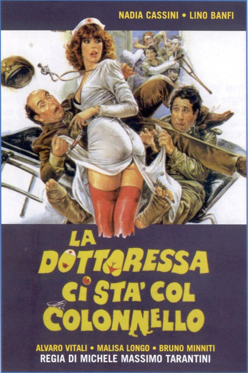 Illustration of Nadia Cassini in a nurse costume on a movie poster