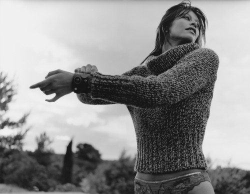 Model in a knitted cardigan