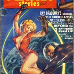 cover of planet stories featuring woman fighting man in space with laser whips