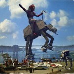 alien riding an at-at on a lakeside