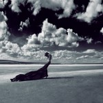 woman in drape on flatland