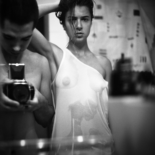 Wet t-shirt in the mirror by Aleksey Chizhik