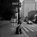 ballerina at street crossing in new york city
