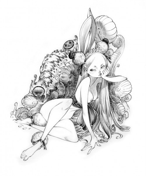 sketch of nude alice and caterpillar by alessandro barbucci