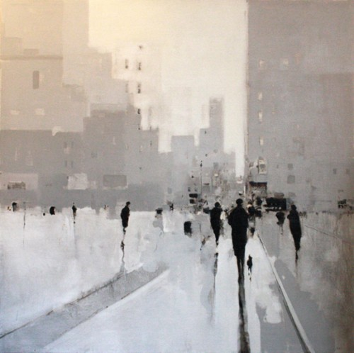 figures walking up a city street by jeffrey johnson